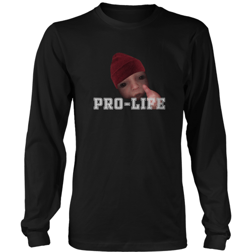 Print Brains Men's Long Sleeve T-Shirt Port & Co US Made Cotton Long Sleeve Crew / Black / S Pro-Life Baby Long-Sleeve T-Shirt (8 Variants)