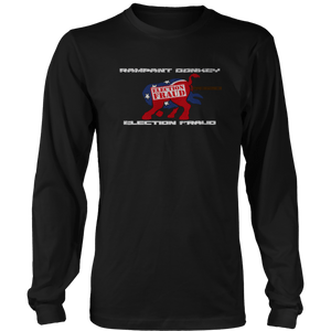 Print Brains Men's Long Sleeve T-Shirt Port & Co US Made Cotton Long Sleeve Crew / Black / S Rampant Donkey Election Fraud 2020 Long-Sleeve (8 Variants)