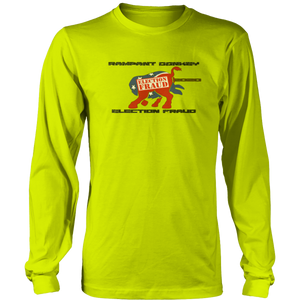 Print Brains Men's Long Sleeve T-Shirt Port & Co US Made Cotton Long Sleeve Crew / Green Apple / S Rampant Donkey Election Fraud 2020 Long-Sleeve (8 Variants)
