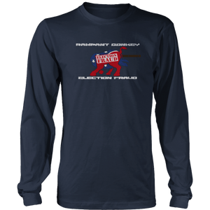 Print Brains Men's Long Sleeve T-Shirt Port & Co US Made Cotton Long Sleeve Crew / Navy / S Rampant Donkey Election Fraud 2020 Long-Sleeve (8 Variants)
