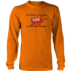 Print Brains Men's Long Sleeve T-Shirt Port & Co US Made Cotton Long Sleeve Crew / Neon Orange / S Rampant Donkey Election Fraud 2020 Long-Sleeve (8 Variants)