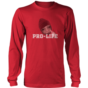 Print Brains Men's Long Sleeve T-Shirt Port & Co US Made Cotton Long Sleeve Crew / Red / S Pro-Life Baby Long-Sleeve T-Shirt (8 Variants)