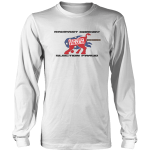 Print Brains Men's Long Sleeve T-Shirt Port & Co US Made Cotton Long Sleeve Crew / White / S Rampant Donkey Election Fraud 2020 Long-Sleeve (8 Variants)