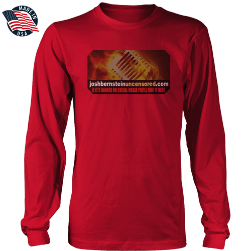 Print Brains Men's Long Sleeve T-Shirt Red / S / Port & Co US Made Cotton Long Sleeve Crew Banned Microphone of Truth Long-Sleeve T-Shirt (8 Variants)