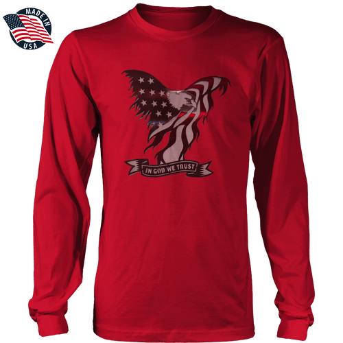 Print Brains Men's Long Sleeve T-Shirt Red / S / Port & Co US Made Cotton Long Sleeve Crew In God We Trust Eagle Long-Sleeve T-Shirt (8 Variants)