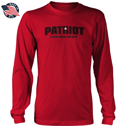 Print Brains Men's Long Sleeve T-Shirt Red / S / Port & Co US Made Cotton Long Sleeve Crew Star Patriot Black Text Live Free or Die Long-Sleeve Shirt (8 Variants)