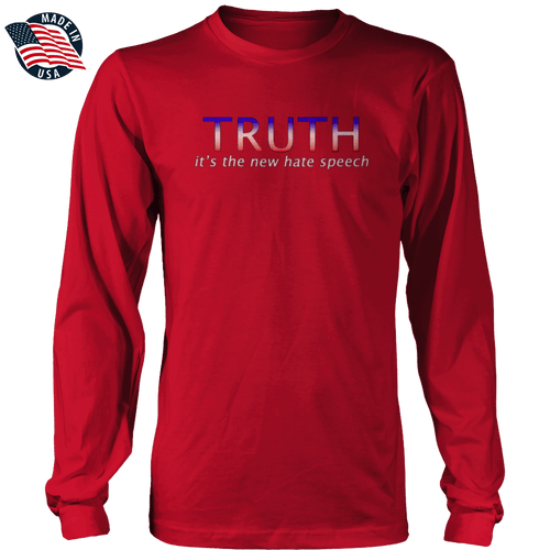 Print Brains Men's Long Sleeve T-Shirt Red / S / Port & Co US Made Cotton Long Sleeve Crew TRUTH It's The New Hate Speech Long-Sleeve T-Shirt (8 Variants)