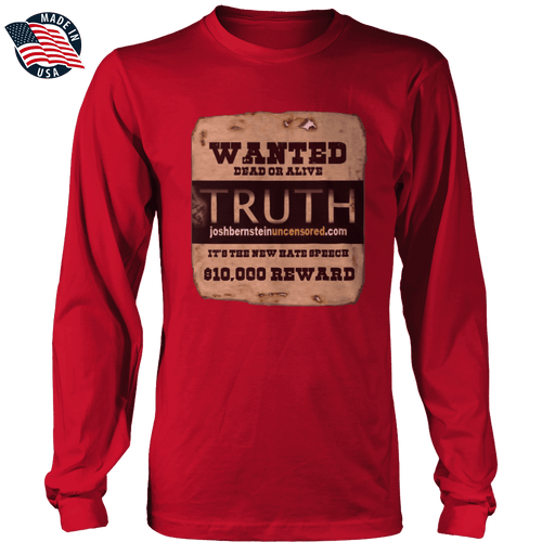 Print Brains Men's Long Sleeve T-Shirt Red / S / Port & Co US Made Cotton Long Sleeve Crew Truth Wanted Dead or Alive Long-Sleeve T-Shirt (8 Variants)