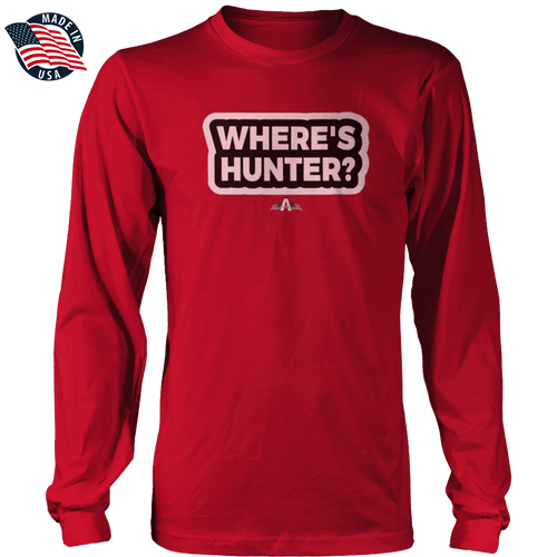 Print Brains Men's Long Sleeve T-Shirt Red / S / Port & Co US Made Cotton Long Sleeve Crew Where's Hunter? Long-Sleeve T-Shirt (8 Variants)