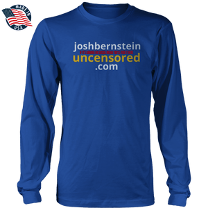 Print Brains Men's Long Sleeve T-Shirt Royal Blue / S / Port & Co US Made Cotton Long Sleeve Crew Josh Bernstein Uncensored - If It's Banned You'll Find It Here Long-Sleeve T-Shirt (4 Variants)