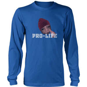Print Brains Men's Long Sleeve T-Shirt Royal Blue / S / Port & Co US Made Cotton Long Sleeve Crew Pro-Life Baby Long-Sleeve T-Shirt (8 Variants)
