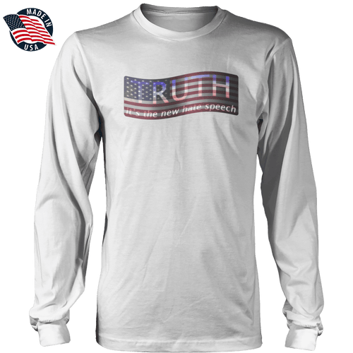 Print Brains Men's Long Sleeve T-Shirt TRUTH It's The New Hate Speech American Flag Long-Sleeve T-Shirt (8 Variants)