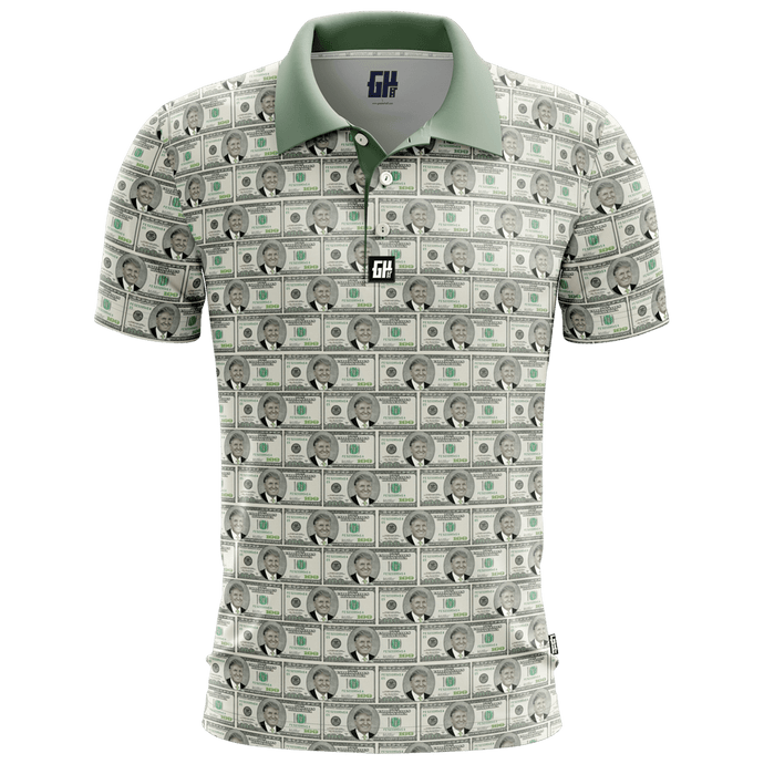 Print Brains Men's Polo Shirts Billionaire Golf Polo / White / S Billionaire Golf Polo