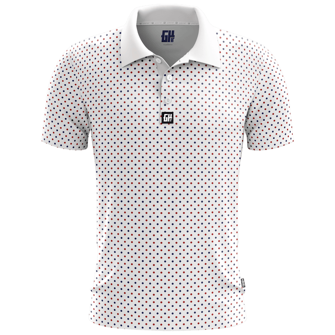 Print Brains Men's Polo Shirts Connect The Dots Golf Polo / White / S Connect The Dots Golf Polo