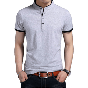 American Patriots Apparel Men's Polo Shirts Gray / S Mens Gray Stand Collar Polo Shirt