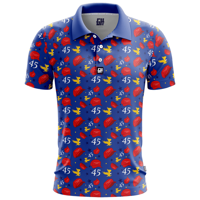 Print Brains Men's Polo Shirts Keep America Great Golf Polo / Navy / S Keep America Great Golf Polo