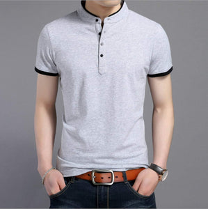 American Patriots Apparel Men's Polo Shirts Mens Gray Stand Collar Polo Shirt