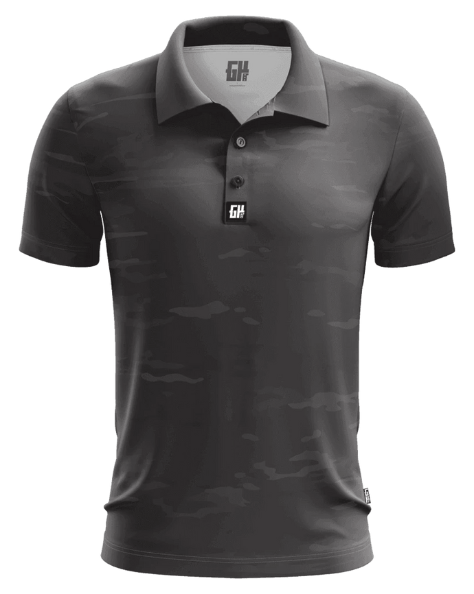 Print Brains Men's Polo Shirts Midnight Camo Golf Polo / Black / S Midnight Camo Golf Polo