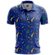 Load image into Gallery viewer, Print Brains Men's Polo Shirts Retro Pew Golf Polo / Navy / S Retro Pew Golf Polo