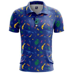 Print Brains Men's Polo Shirts Retro Pew Golf Polo / Navy / S Retro Pew Golf Polo