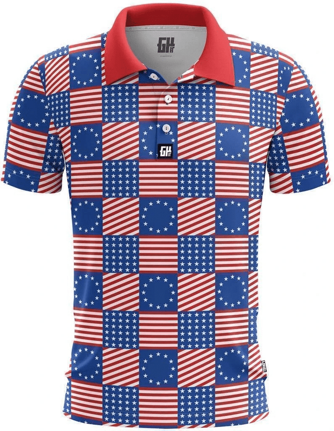 Greater Half Men's Polo Shirts S / Red/White/Blue Flag Pattern Golf Polo