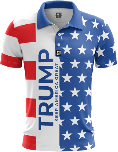 Greater Half Men's Polo Shirts S / Red/White/Blue Keep America Great Golf Polo