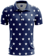Load image into Gallery viewer, Print Brains Men's Polo Shirts Stars No Bars Golf Polo / S / Navy Stars No Bars Golf Polo