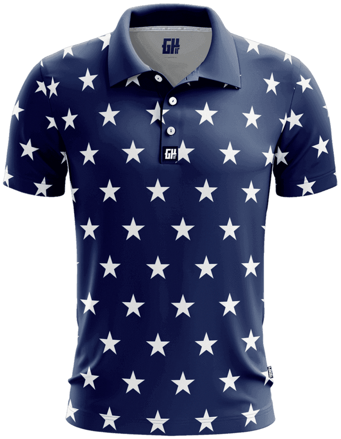Print Brains Men's Polo Shirts Stars No Bars Golf Polo / S / Navy Stars No Bars Golf Polo