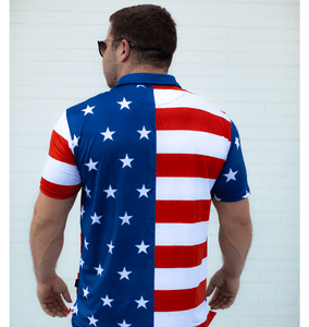 Print Brains Men's Polo Shirts USA Flag Golf Polo