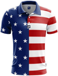 Load image into Gallery viewer, Print Brains Men's Polo Shirts USA Flag Golf Polo / S / White USA Flag Golf Polo