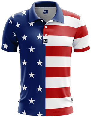 Print Brains Men's Polo Shirts USA Flag Golf Polo / S / White USA Flag Golf Polo