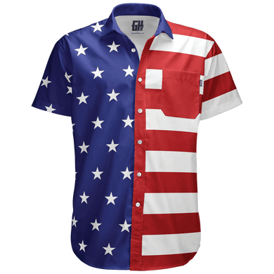 Print Brains Men's Short-Sleeve Dress Shirt American Flag Button Down / Blue / S American Flag Button Down