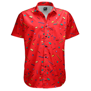 Print Brains Men's Short-Sleeve Dress Shirt Bayside High Red Button Down / Red / S Bayside High Red Button Down