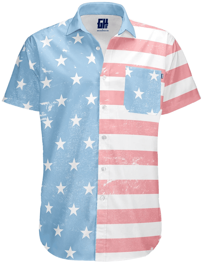 Print Brains Men's Short-Sleeve Dress Shirt Faded Old Glory Button Down / White / S Faded Old Glory Button Down