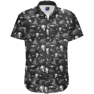 Print Brains Men's Short-Sleeve Dress Shirt Join or Die Button Down / Black / S Join or Die Button Down