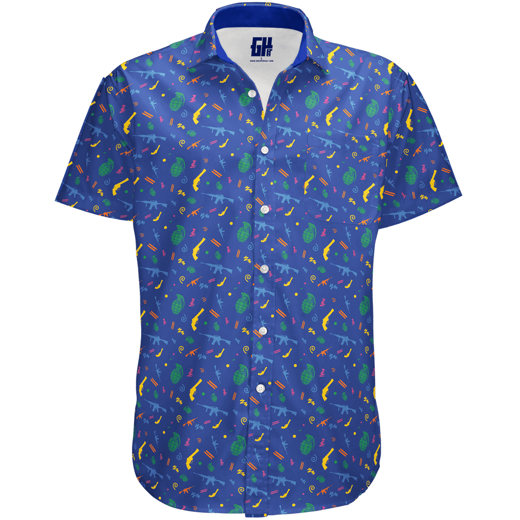 Print Brains Men's Short-Sleeve Dress Shirt Retro Pew Button Down / Royal Blue / S Retro Pew Button Down