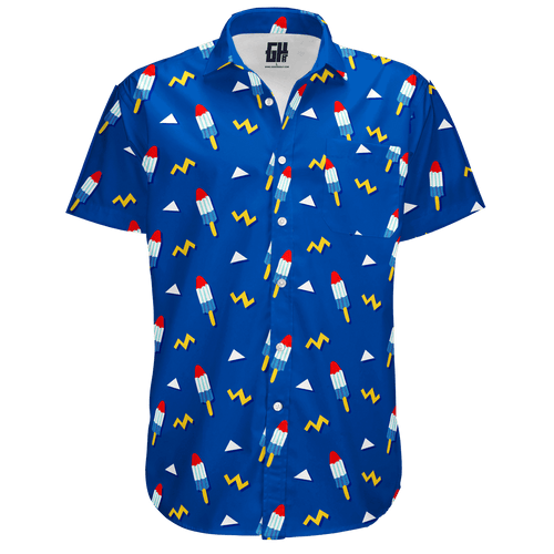 Print Brains Men's Short-Sleeve Dress Shirt Rocket Pop Button Down / Royal Blue / S Rocket Pop Button Down