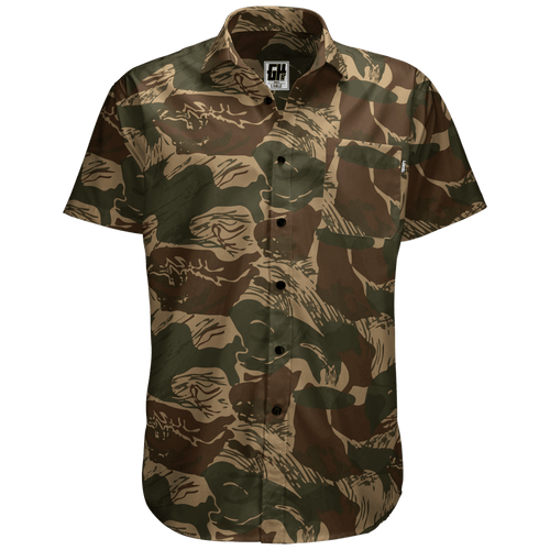 Greater Half Men's Short-Sleeve Dress Shirt S / Brushstroke Brushstroke Camo Button Down