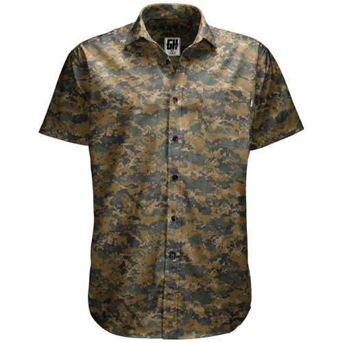 Greater Half Men's Short-Sleeve Dress Shirt S / Forest Digital Forest Digital Camo Button Down