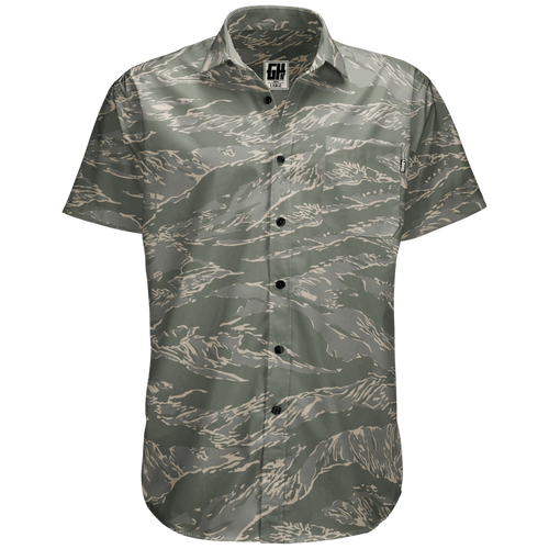 Greater Half Men's Short-Sleeve Dress Shirt S / Tiger Tiger Camo Button Down