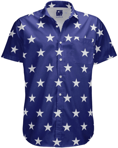 Print Brains Men's Short-Sleeve Dress Shirt Stars Button Down / Navy / S Stars Button Down