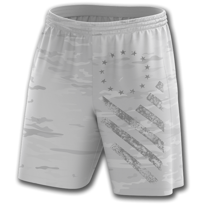 Print Brains Men's Shorts Arctic Camo Shorts / White / S Arctic Camo Shorts