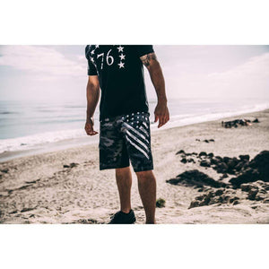 Tactical Pro Supply Men's Shorts Black Camo White Crest | Board Shorts