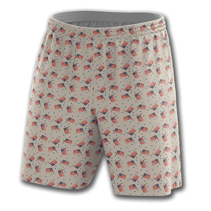Print Brains Men's Shorts Flags And Stars Shorts / White / S Flags And Stars Shorts
