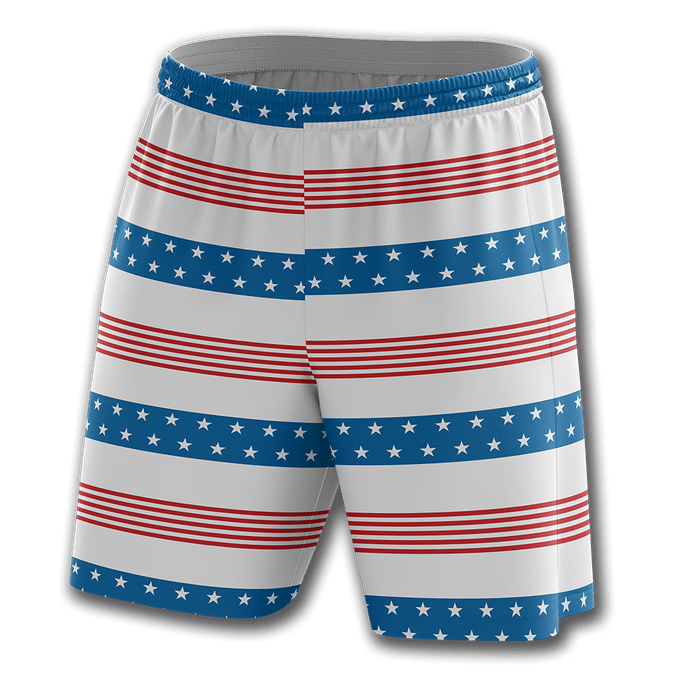 Print Brains Men's Shorts Old Glory Stripes Shorts / White / S Old Glory Stripes Shorts
