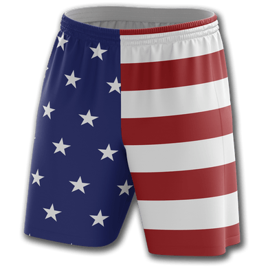 Print Brains Men's Shorts USA Flag Shorts / White / S USA Flag Shorts