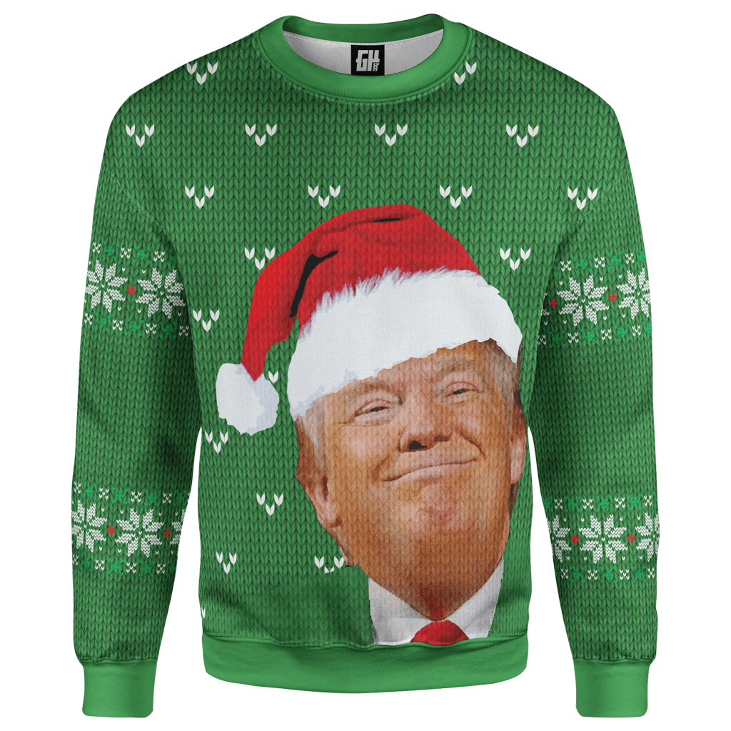 Greater Half Men's Sweater S / Green Santa Trump Smirking Christmas Sweater