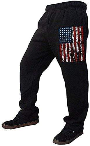 Interstate Apparel Inc Men's Sweatpants XX-Large / Black Black USA Flag Men's Fleece Sweatpants