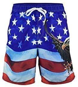 American Patriots Apparel Men's Swimsuit 3X-Large / Red/White/Blue Above The Knee Men's American Flag Swim Trunk Patriotic Eagle Design