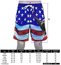 Load image into Gallery viewer, American Patriots Apparel Men's Swimsuit Above The Knee Men's American Flag Swim Trunk Patriotic Eagle Design